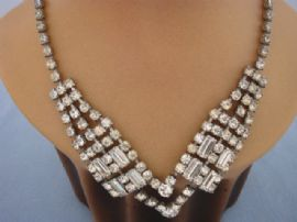 1940s Diamante Necklace in the Art Deco Style with Baguette and Round Jewels (sold)